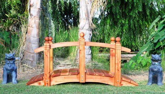 6 Foot Span Curved Single Rail Garden Bridge